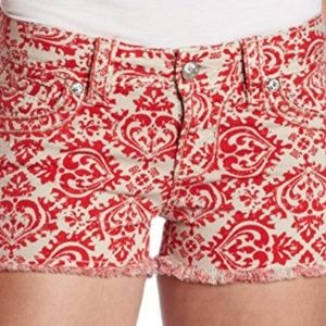 Miss Me Jeans Red & Tan Poppy Frayed Cargo Shorts